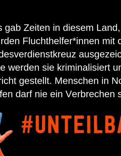 Sharepic #unteilbar24 Fluchthilfe